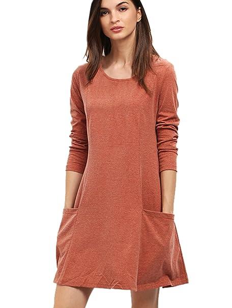 SHEIN de las mujeres? Manga Larga Bolsillos cuello redondo Casual vestido – marrón medio