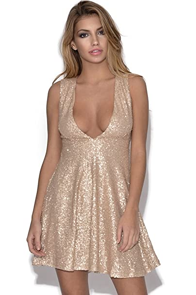Vestry Skater vestido de lentejuelas Dorado dorado 8: Amazon.es: Ropa y accesorios