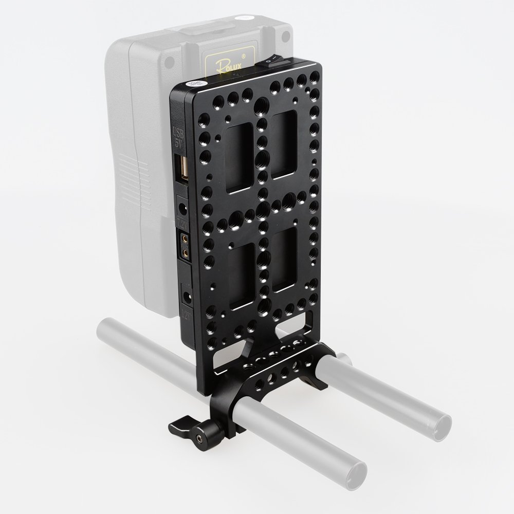 CAMVATE V Lock Mounting Plate Power Supply Splitter with 15mm Rod Clamp by CAMVATE (Image #2)