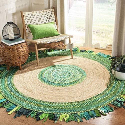 InicioDecorBoutique - Alfombra de algodón Trenzado y Yute de Color Verde (Hecha a Mano, 3 pies): Amazon.es: Hogar