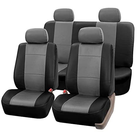 Fh Group Universal Fit Seat Cover Faux Leather Gray Black Full Set With 4 Headrest Covers