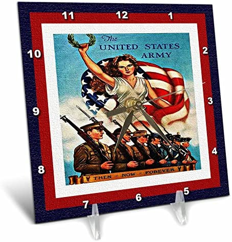 3dRose dc_14795_1 US Army Textured-Desk Clock, 6 by 6-Inch
