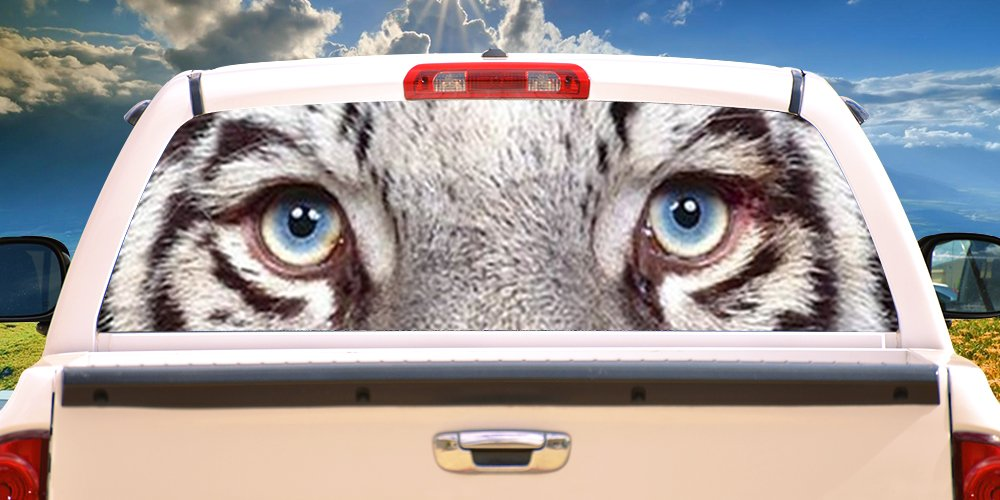 SignMission White Tiger Rear Window Graphic Decal Tint Film Back Animal car, 18'' X 58'', by SignMission