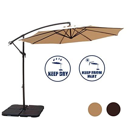 PATIOROMA 10 Feet Offset Patio Umbrella Outdoor Aluminum Hanging Cantilever  Umbrella With Crank And Cross Base