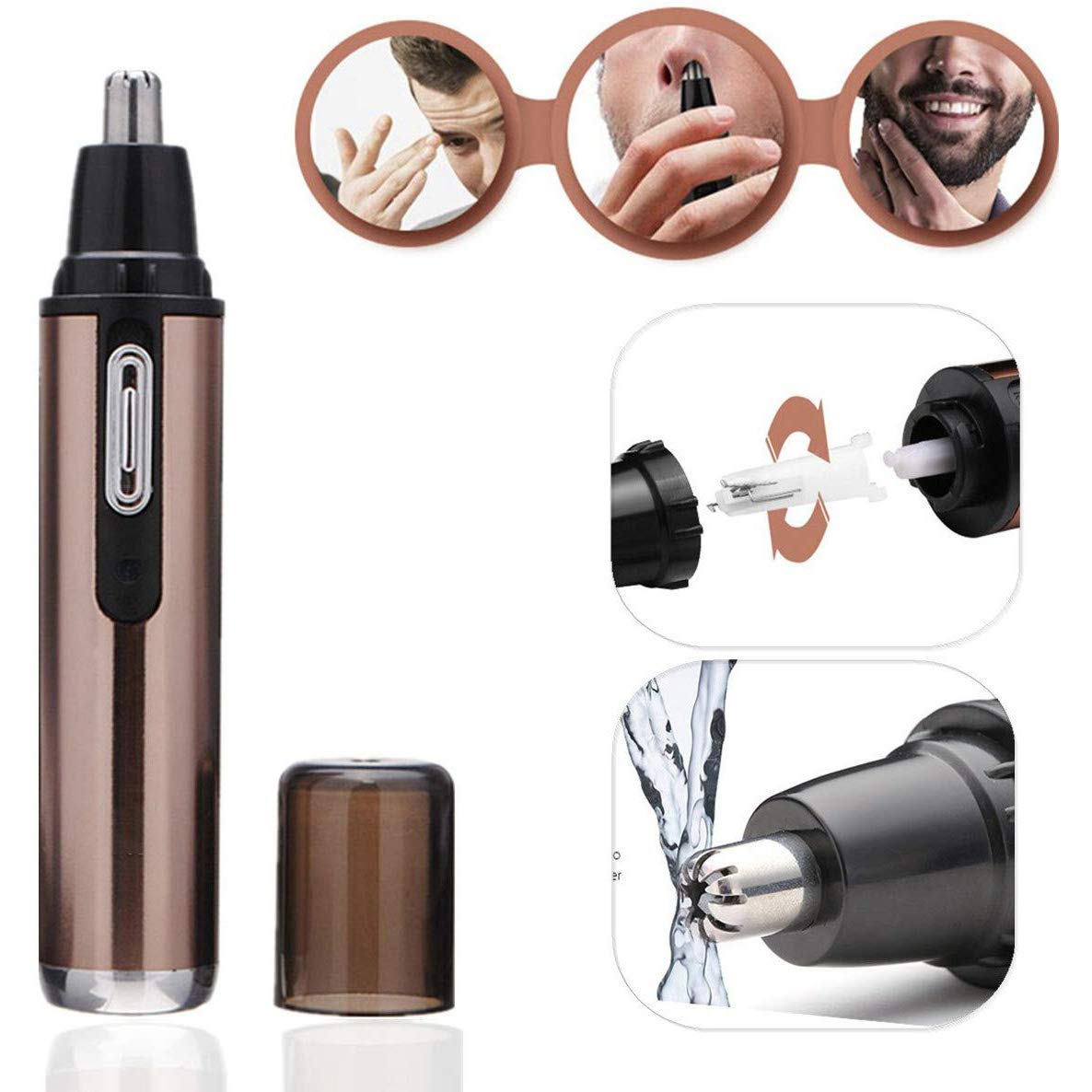 Gun Face Nose Facial Eyebrow Hair Beard Trimmer, Long Nose Hair Trimmer Corded Shaver Ladies Male, Nose-Hair Trimmer Scissors Waterproof Stainless Steel, Mini Chooling Nose Hair Trimmer LED Light by BETTER ANGEL XING