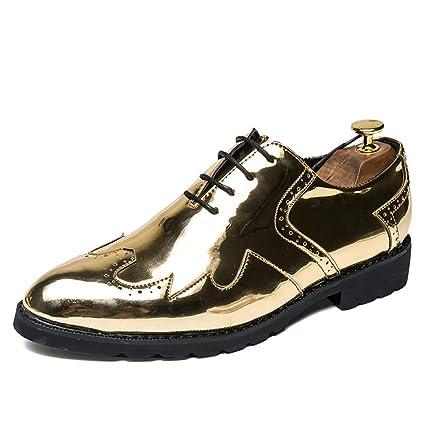 entrega rápida varios estilos obtener nueva Xiaojuan-shoes, - Zapatos de Vestir para Hombre Oxford Wingtip Hechos a  Mano de Cuero con Cordones, Piel sintética, Dorado, 8 UK