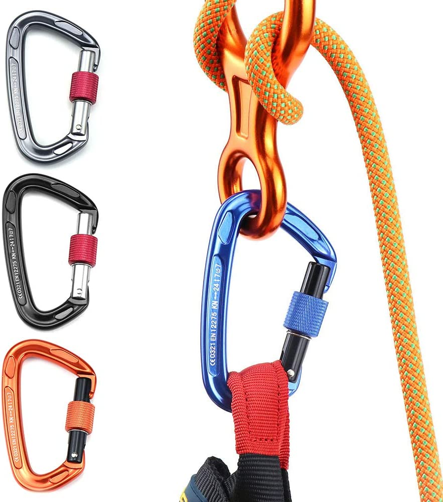 Carabiner with Screw Locking Gate 24KN Heavy Duty Carabiner Clips for Hammocks Camping Hiking Backpacking