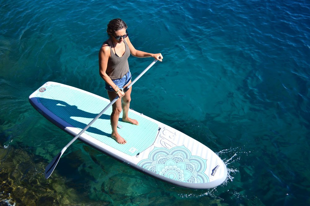 ISLE 10'4 Airtech Inflatable Yoga Stand Up Paddle Board (6'' Thick) iSUP Package | Includes Adjustable Travel Paddle, Carrying Bag, Pump by ISLE Surf and SUP (Image #5)