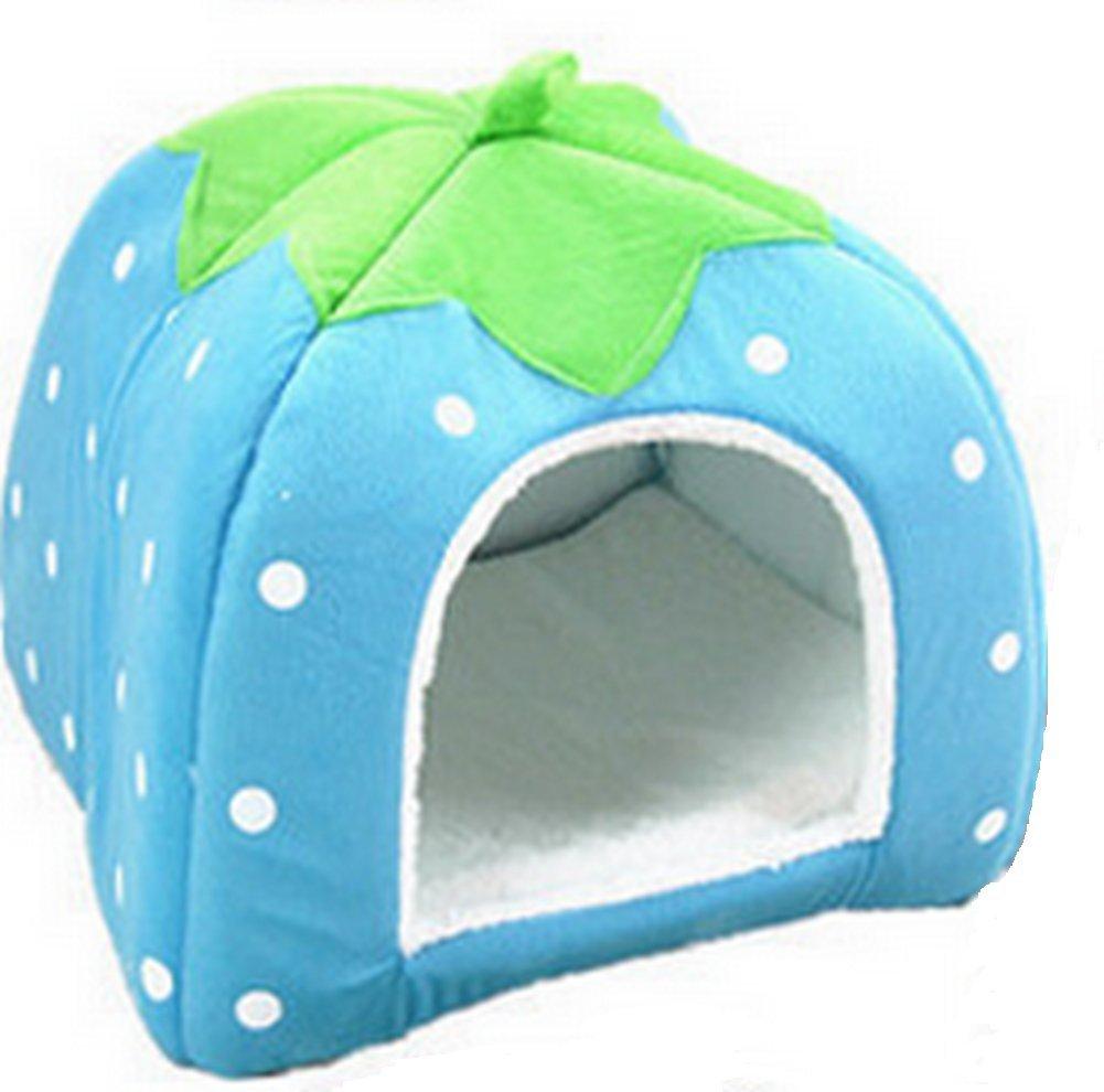 Vikenner Pet Nest Lovely Strawberry Morbido Peluche Cucciolo di Cane Gatto Letto Antiscivolo casa Calda Cave Pieghevole Sacco Nanna per Piccoli Cani e Gatti 24 * 24 * 26 cm (Blu)