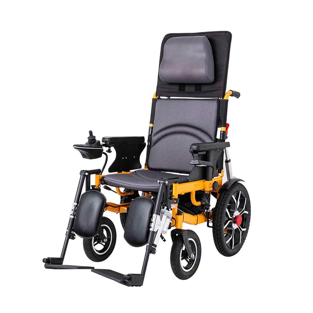 DS Silla de ruedas Silla de Ruedas eléctrica, Silla de Ruedas Plegable y reclinable, vehículo de Cuidado de Cuatro Ruedas con discapacidad para Personas ...