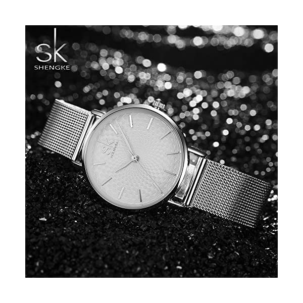 Shengke Elegant Slim Simplicity Quartz Watch Top Brand Mesh Band Women Watches Ladies Business Wristwatch Hot Clock 2018 (silver case&silver mesh band)