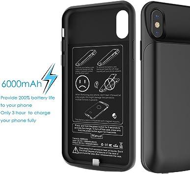 Funda Bateria iPhone X Carcasa, 6000mAh Battery Case Externa ...