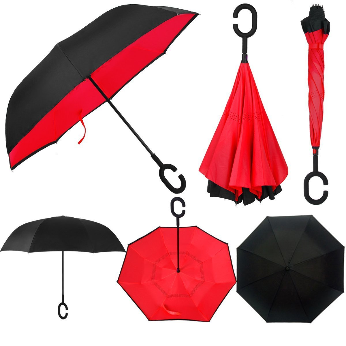 Swisstek Double Layer Reversible Smart Umbrella - Quick Dry Technology - Dual Layer Design - UV Protection Layer - Windproof & Waterproof - Stands On Its Own - Convenient C Grip (Red)
