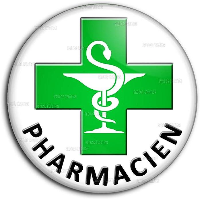 Badge 25mm Caduc/ée Esculape Pharmacie Pharmacien Pins Bouton Epinglette