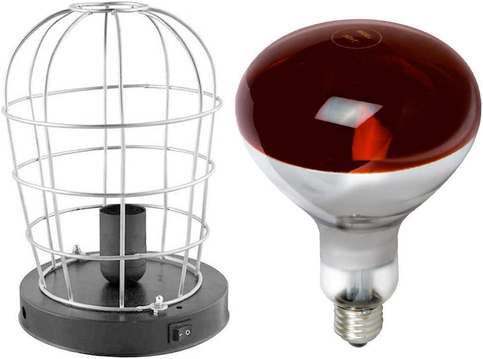 Estufa Infrarrojos Portatil + Lámpara Bombilla (250W E27) [ PACK ] - Luz Roja - Emite Calor