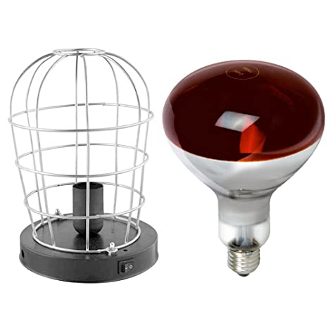 Estufa Infrarrojos Portatil + Lámpara Bombilla (250W E27) [ PACK ] - Luz Roja