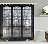 Large Shower Curtains Ambesonne Industrial Decor Collection, Old Large Window with Broken Panes in a Deserted Hall near Forest Trees Winter Time Style, Polyester Fabric Bathroom Shower Curtain, 75 Inches Long, Grey