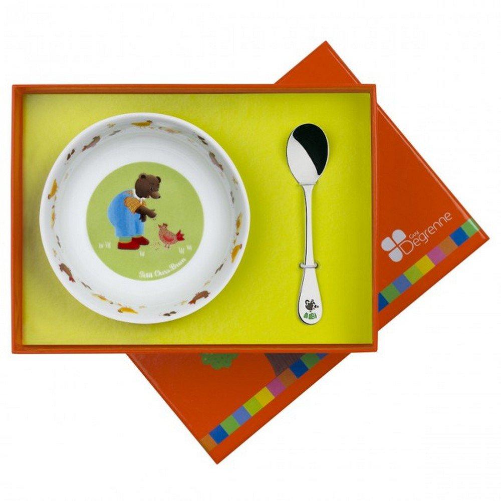 Guy Degrenne 204809 - Set di stoviglie per bambini (piatto e cucchiaio)