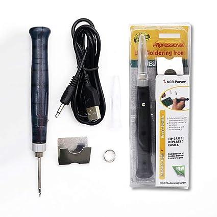 Tellaboull Mini Portátil USB 5V 8W Eléctrico Powered Soldadura Pluma/Punta Interruptor Táctil Ajustable Eléctrico
