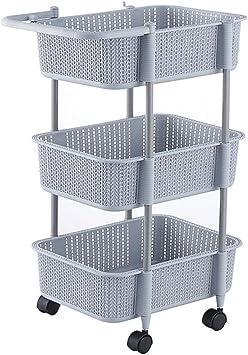 Fruit Vegetable Rack Trolley Storage Stand Cart Kitchen Plastic  W//Wheels 3 Tier