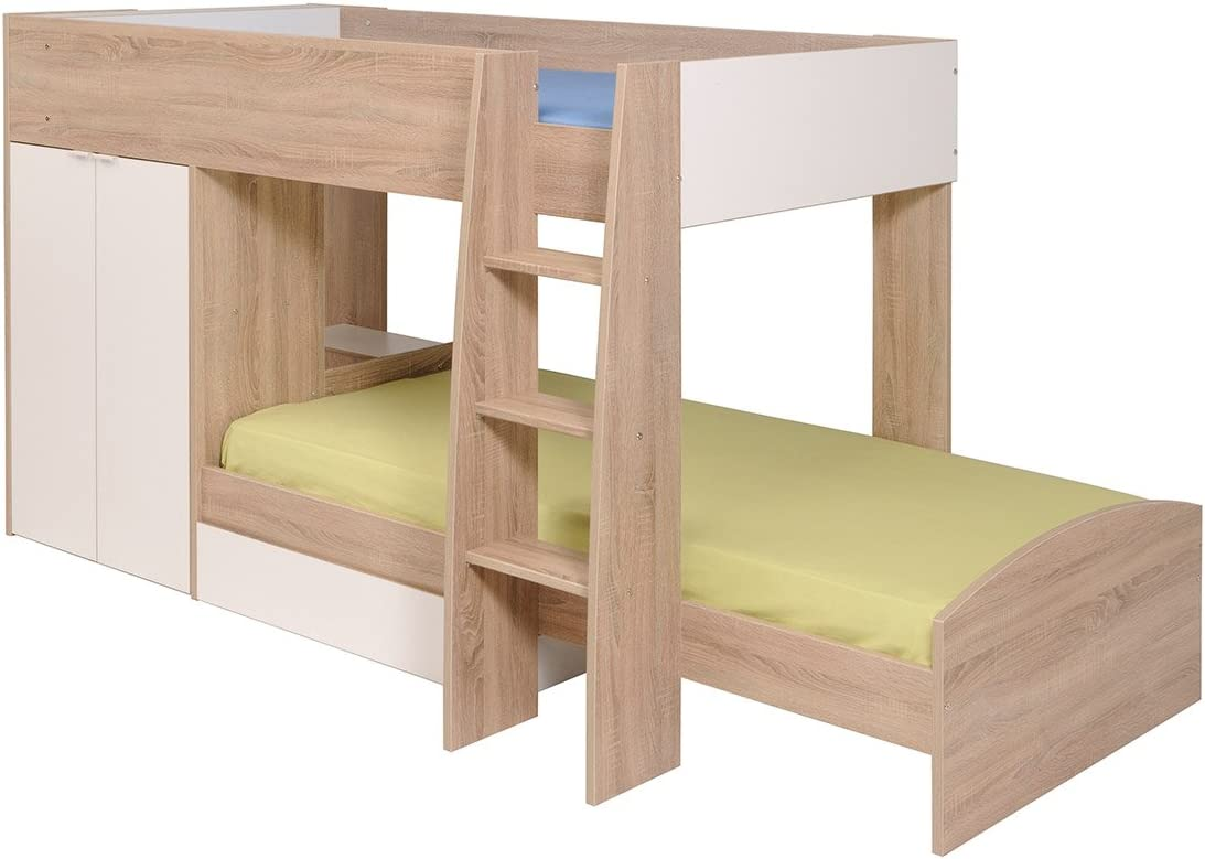 Hugo 2141lisu 2 Sleeper Bunk Bed Oak Untreated White 280 X 122 X 142 Cm Amazon De Kuche Haushalt