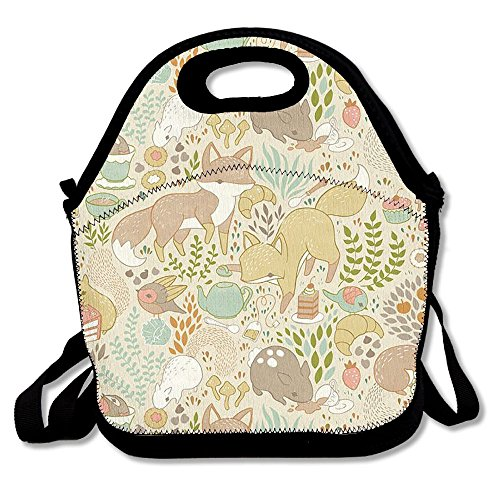 MI-too Woodland Animals Forest Thick Insulated Thermal Lunch Bag Waterproof Outdoor Travel Picnic Carry Case Lunch Handbags Tote With Zipper Reusable ()