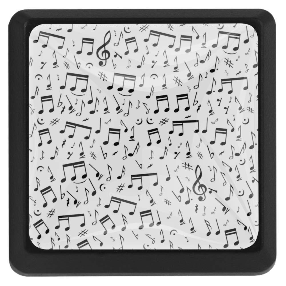 oficina COOSUN armario tiradores de caj/ón Tirador de caj/ón con dise/ño de notas musicales pomos de armario con tornillos para el hogar 3 piezas cristal cuadrado