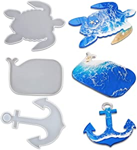 iSuperb 3 PCS Silicone Molds for Resin, Creative Tray Molds Whale Turtle Anchor Epoxy Resin Casting Molds for DIY Coaster, Faux Agate Tray, Home Decoration (3 PCS Resin Molds)