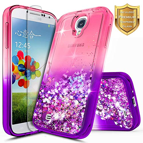 Galaxy S4 Case with Tempered Glass Screen Protector for Girls Women Kids, NageBee Glitter Liquid Bling Floating Waterfall Diamond Shockproof Durable Cute Case for Samsung Galaxy S4 -Pink/Purple (Galaxy S4 Case Pink Hybrid)