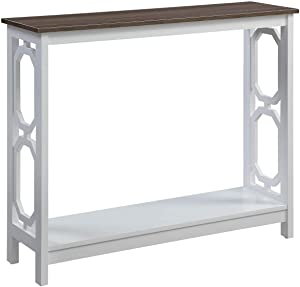 Convenience Concepts Omega Console Table, Driftwood Top / White Frame