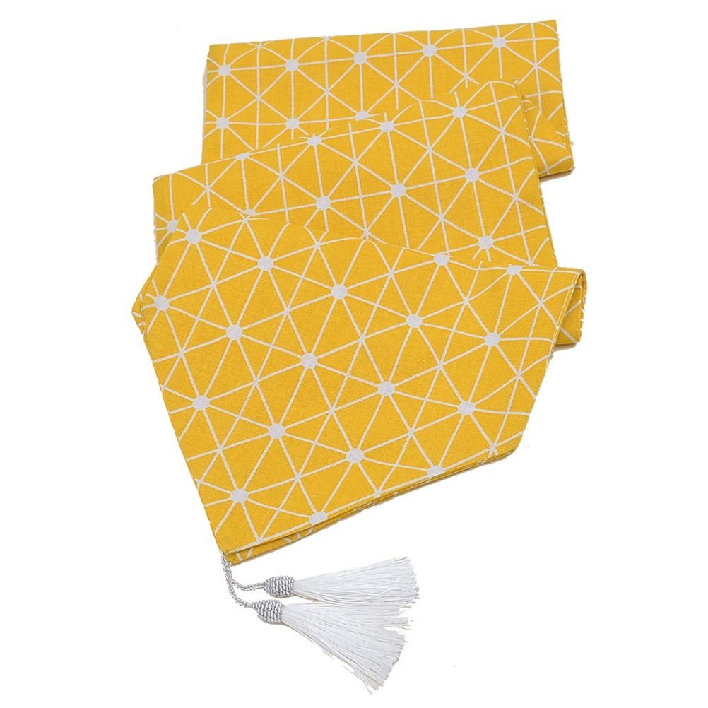Multi-Size Geometric Printed Yellow Table Runner LivebyCare Cotton Linen Fabric Decoration For Dinner Table Coffee Table Decorative