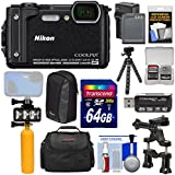 Nikon Coolpix W300 4K Wi-Fi Shock & Waterproof Digital Camera (Black) + 64GB Card + Battery & Charger + Diving LED + Buoy + Bike Mount + Cases + Tripod Kit