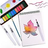 KUUQA 水彩画セット 絵の具セット 水彩絵の具 固形水彩 12色 水彩筆 3本セット クロッキー帳 A5 30枚入り 男の子 女の子 小学校 初心者用 水彩画用筆 水筆ペン