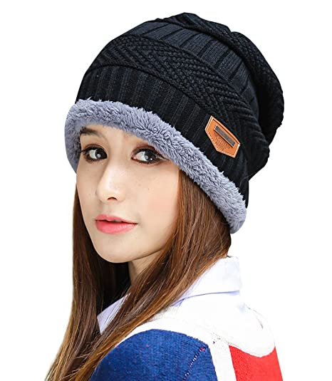 eccebd819e7 HINDAWI Womens Slouchy Beanie Winter Hat Knit Warm Snow Ski Skull Cap  (Black)