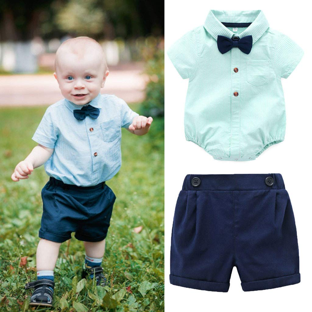 Shorts Outfit Set LIKESIDE Infant Baby Boy Gentleman Suits Short Sleeve Romper Shirt
