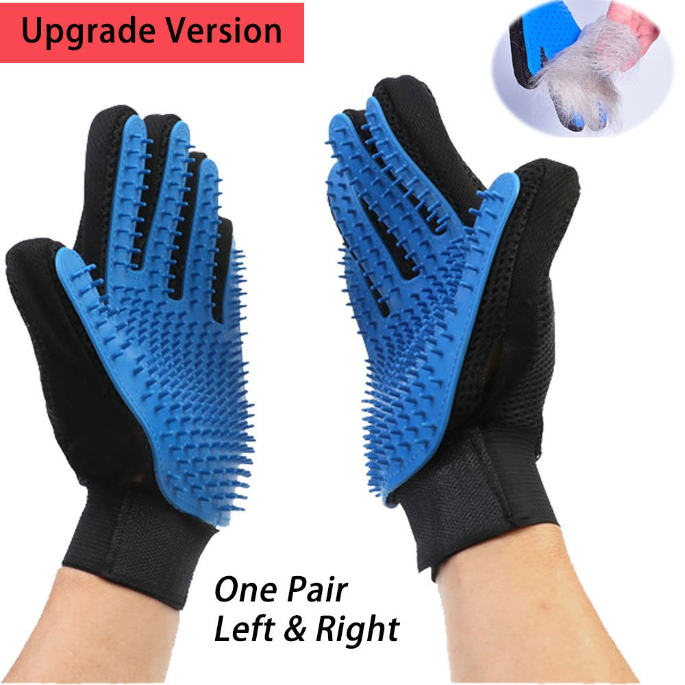 Upgrade Version Pet Grooming Glove- Gentle Deshedding Brush Glove- Pet Hair Remover Mitt- Enhanced Five Finger Design- Perfect for Dogs & Cats with Long & Short Fur- Left & Right (1 Pair Blue