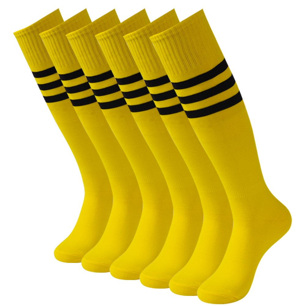 3street ユニセックス ニーハイ トリプルストライプ アスレチック サッカー チューブ ソックス 2 / 6 / 10組 B077PPQ1XW 6 Pairs Bright Yellow 6 Pairs Bright Yellow