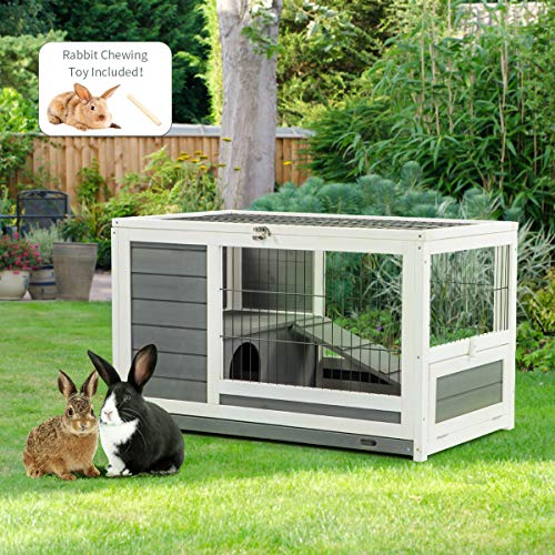 Yamadao Rabbit Cage Indoor Rabbit Hutch with Rest Place and Ramp,35.43″ L x 21.0″ W x 21.25″ H