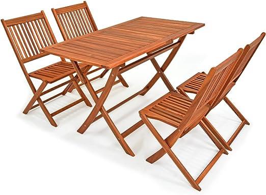 Deuba - Ensemble de Jardin 4+1 - Bois d\'acacia - Sydney Light - 1 Table + 4  chaises Pliables - Salon de Jardin, Table et chaises