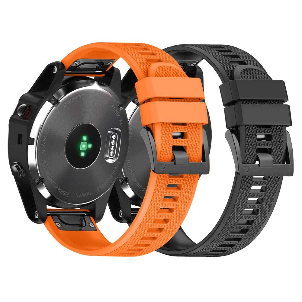 NotoCity Garmin Fenix 3 Correa, Silicona Reemplazo Correa para Garmin Fenix 5X/Fenix 5X Plus/Fenix 6X/Fenix 6X Pro/Fenix 3/Fenix 3 HR, Easy-Fit, no ...