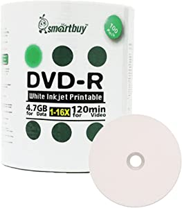 Smartbuy 100-disc 4.7gb/120min 16x DVD-R White Inkjet Hub Printable Blank Data Recordable Media Disc