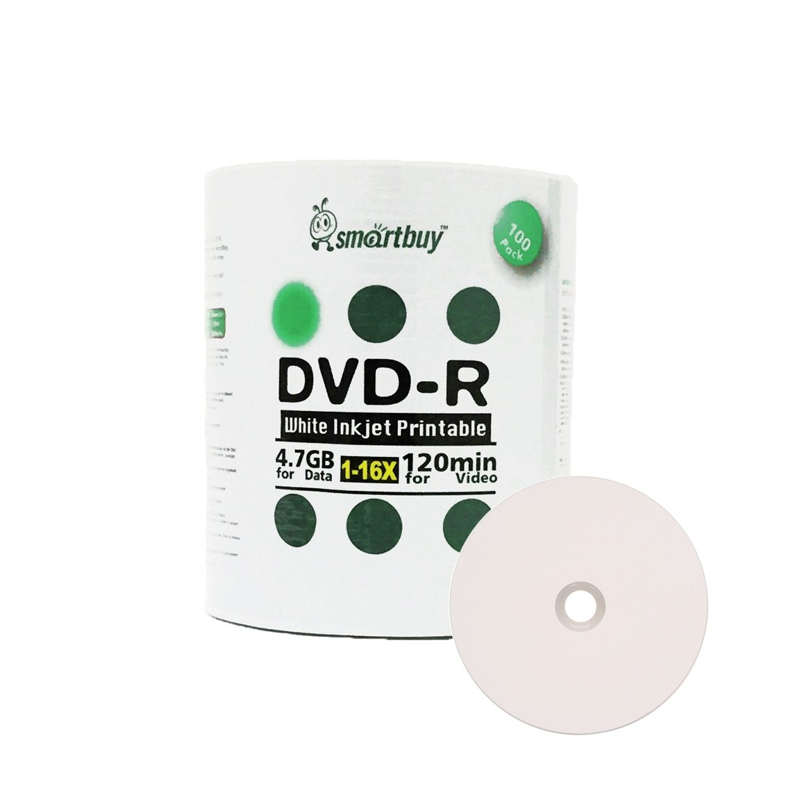Smartbuy 100-disc 4.7gb/120min 16x DVD-R White Inkjet Hub Printable Blank Data Recordable Media Disc by Smartbuy