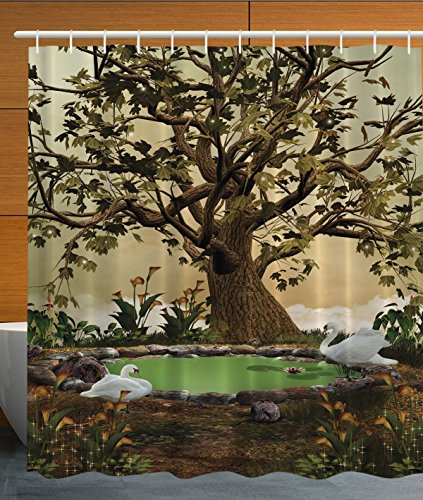 Ambesonne Lake House Decorations Swans in a Garden with an Aged Tree, Polyester Fabric Bathroom Shower Curtain Set with Hooks