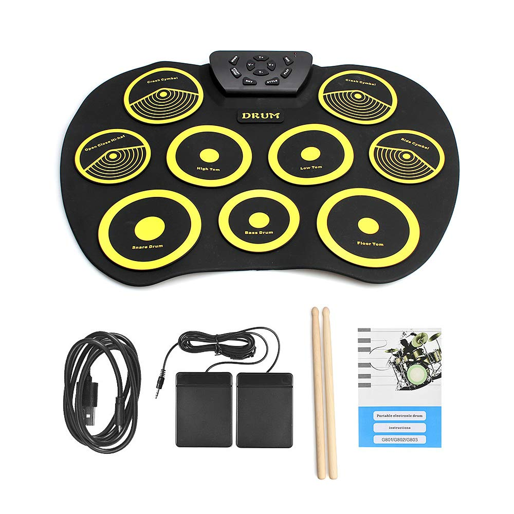 QStyle Portable Electric Drum Set Include Drum Sticks Pad Headphone Jack Built-in Speaker Pedals for Kids Teens Adults