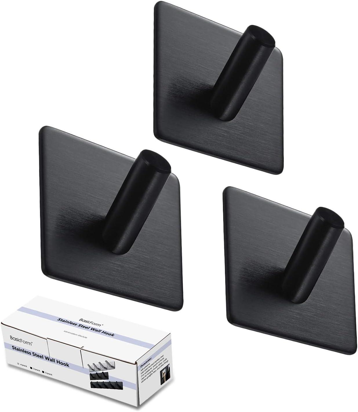 BasicForm Ganchos Adhesivos de Acero Inoxidable Ultra Fuerte Adhesivo para Baño y Cocina Negro (1-Gancho x 3 Piezas)