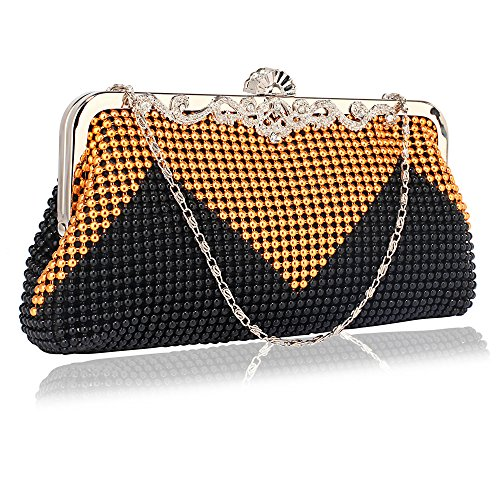 Beaded clutch Purse Bag For Womens Evening Handbag Designer Pearl New Style Crystal With Chain Design 1 - Black/Gold