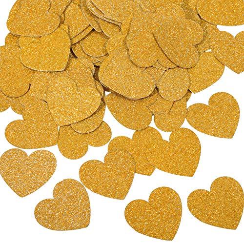 Hestya 400 Pieces Paper Confetti Heart Shaped Confetti Tissue Paper Party Wedding Craft Confetti (Dark Gold)
