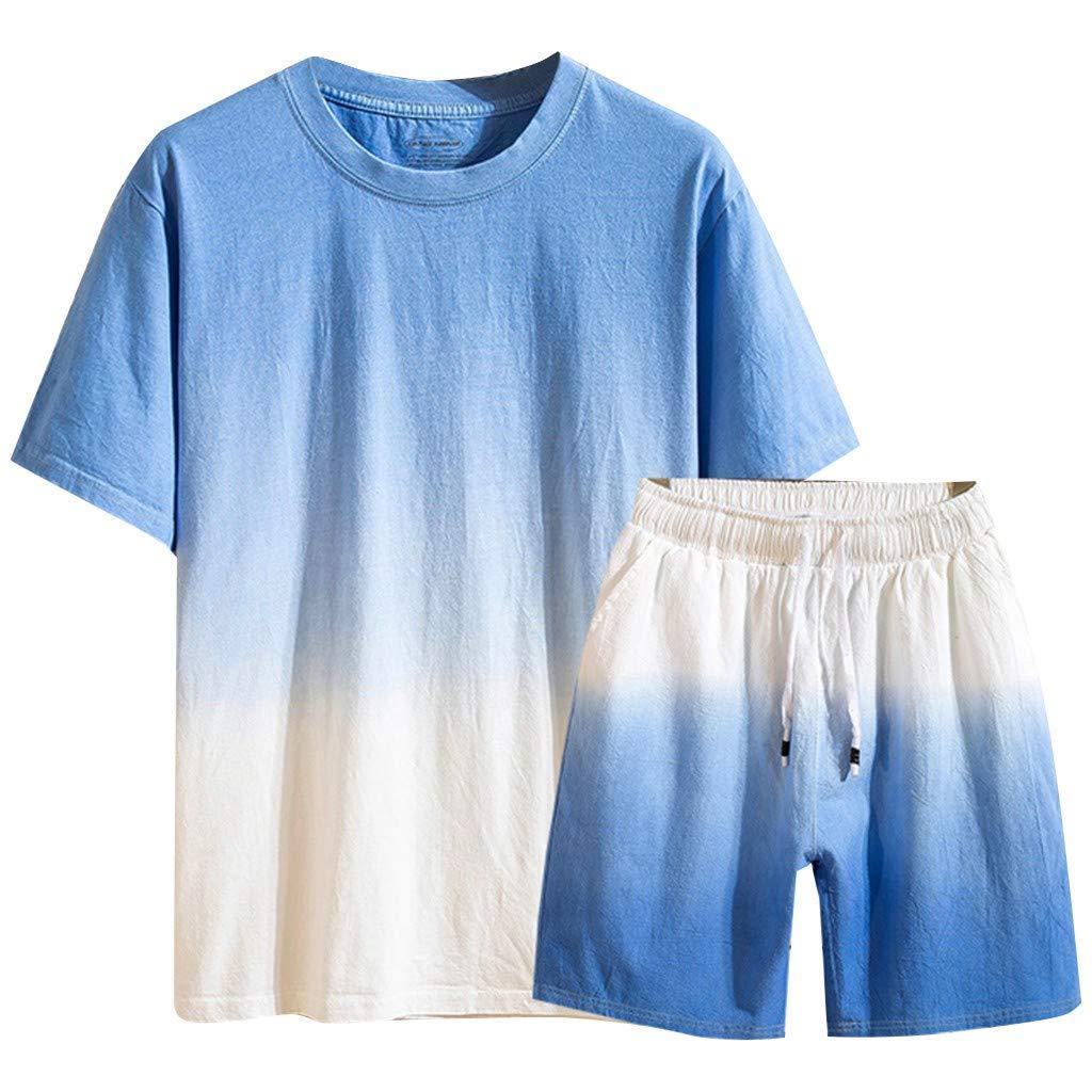 TIFENNY Casual Summer Sport Sets for Men New Cotton Linen Short Sleeve Shorts Pants Fashion Gradual Color Suit Loose Tops Dark Blue