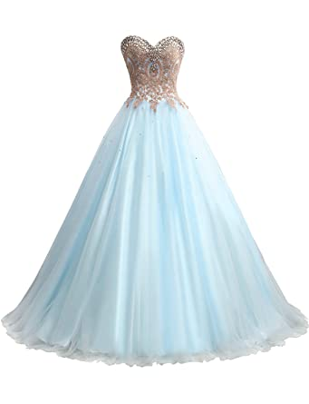 d790a8ccd6f Erosebridal Gold Embroidery Ball Gown Quinceanera Dresses Women s Wedding  Dresses US2 Baby Blue