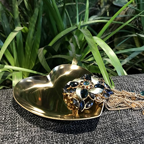 2 Pack Gold Dishes ,heart storage tray dish plate for Jewelry container with love memory (Gold) by LeisureQ (Image #2)